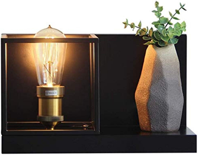 BAIJJ Vintage Einfache Quadratische Eisen Wandleuchte Schlafzimmer Nachttischlampe Dual-Use-Lagerung Regal Wandleuchte Wand Schlafzimmer Treppe Spiegel Lampen E27 Basis