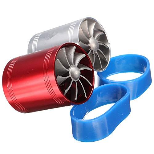 Iris-Shop - Universal Car Turbo Supercharger Air Intake Dual Fan Turbonator Gas Fuel Saver Red Chrome Aluminum