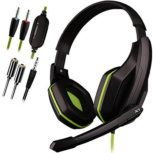 ArVin PS4 Gaming-Headset, 3,5 mm, kabelgebunden, Stereo-Gaming-Kopfhörer mit Rauschunterdrückung und Lautstärkeregler für PS5, PS4, PS4 Pro, PS4 Slim, Nintendo Switch/Lite, Tablet (schwarz und grün)