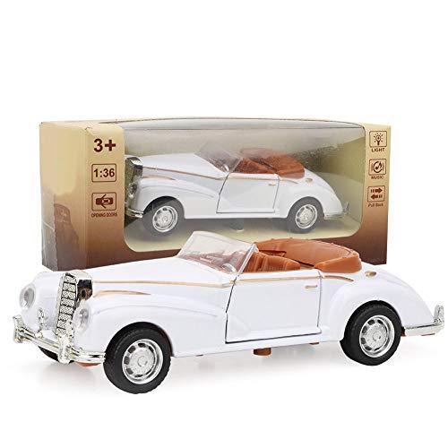 Classic Die Cast Modell 1:36 Mini Stimulation Alloy Oldtimer Roadster mit Lichtern Sound Modell Toy Vehicle Die Geschenke für Kinder(Weiß)