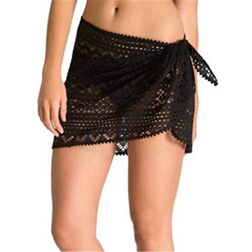 KCPer Women Swim Bikini Bottoms Ladies Monokini Beach Lace Shorts Skirt Hollow Out Swimwear Shorts Beach (Black)