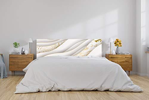 Oedim Cabecero Cama PVC Patrón Dorado y Blanco 150x60cm | Disponible en Varias Medidas | Cabecero Ligero, Elegante, Resistente y Económico
