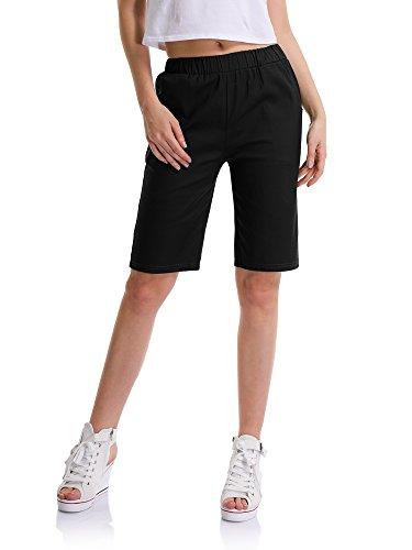 OCHENTA Women's Casual Elastic Waist Knee-Length Bermuda Shorts with Drawstring #9500 Black UK 14- Tag 4XL