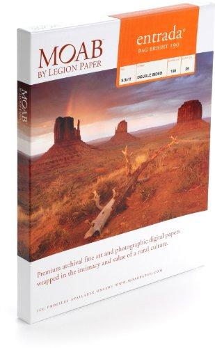 Moab Entrada Rag Bright (Papier aus Baumwolle für Tintenstrahldrucker, A4,190 g, Hochglanz, 25 Blatt)