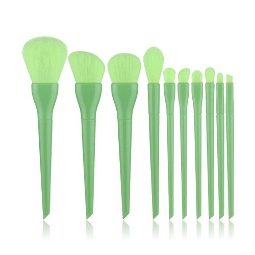 MUZIWENJU 10pcs natürliche Haar Bunte Make-up Pinsel Professionelle Foundation Powder Blush Lidschatten Augenbraue Kabuki Blending Pinsel-Set (Handle Color : Without Logo Green)