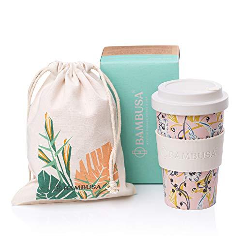 Bambusa Bambus Coffee to Go Becher Kaffe-Becher | Wiederverwendbarer umweltfreundlicher Reisebecher | Kostenlose Tasche inklusive