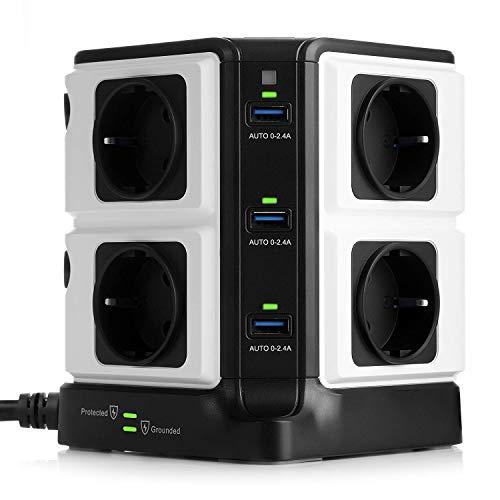 BESTEK 8 Fach Steckdosenleiste 6 USB Mehrfachsteckdose Steckerleiste Stromverteiler mit einzeln Schalter hat 1500J Überspannungsschutz und Blitzschutz schwarz 3600W