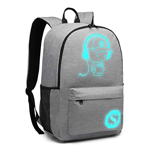 Kono Schultasche Sports Schultasche Leisure Rucksack Luminous Rucksack Student Backpack für Mädchen Jungen & Kinder Damen Herren Jugendliche (Grau)