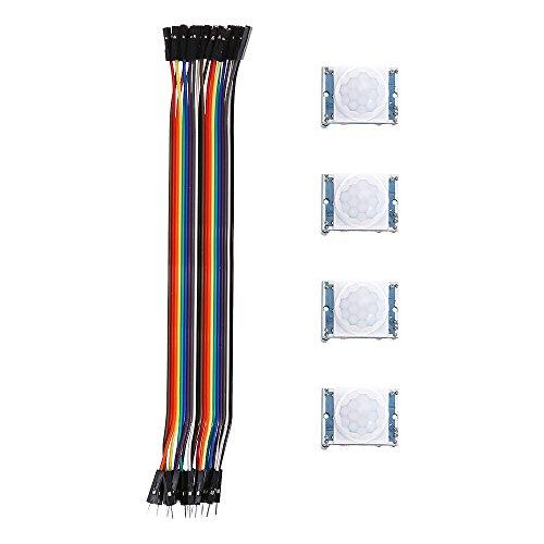Jasmin FS Módulo Sensor 4PCS Módulo Detector de Sensor de Movimiento PIR - Compatible con Arduino/Pyroelectric Infrared LDTR - WG0071