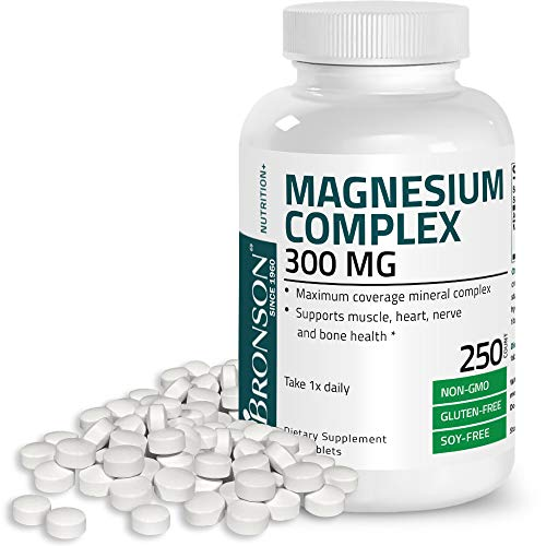 Triple Magnesium Complex Maximum Coverage 300 Mg Magnesium Oxide Magnesium Citrate Magnesium Carbonate, Non-GMO Formula, 250 Tablets