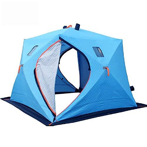 QQW Tenda Invernale Tenda da Campeio Portatile Pop-Up Borsa per il Trasporto All Aperto Calda e Tenda da Pesca Sul Ghiaccio Rimovibile per 4 Persone per Brevi Fine Settimana in Famiglia,Blu,240X240X1