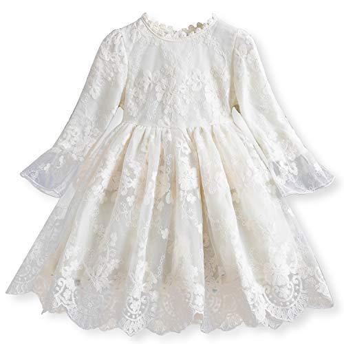 TTYAOVO Vestido de Fiesta de Princesa de Manga Larga de Encaje para Niñas Talla (100) 2-3 Años 670 Blanco
