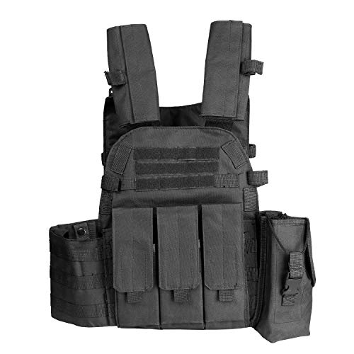 Lixada Tactical Vest Running Exercise Weight Vest Fitness Tool Boxing Training Equipment Sports Loading Weight Vest (Optional) (Black)