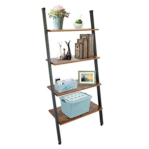 TOPNEW 4-Tier Ladder Shelf Industrial Leaning Ladder Bookshelf, Against The Wall Shelves for Living Room, Office, Bedroom,Bathroom and Kitchen.Wood Look Accent and Metal Frame