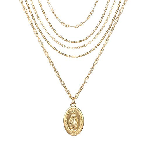 RQWY Collar Personalidad Múltiple Cadena de Cinco Capas Virgen María Collares Pendientes para Mujeres Vintage Encanto Gargantilla Collar Fiesta Joyería