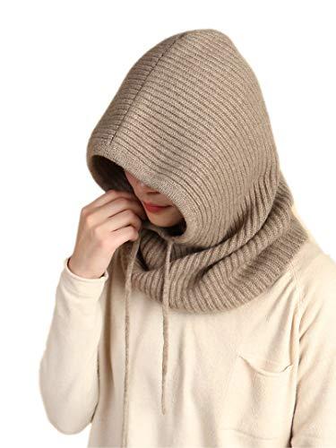 prettystern Foulard Sciarpa con cappuccio in 100% Cachemire di unisex Loop Sciarpa-Beanie Tube naturale lana marrone