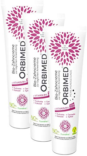ORBIMED Bio-Zahncreme B12, zur täglichen Anwendung, Set mit 3 Tuben á 75 ml (B12), zertifizierte Naturkosmetik-Zahnpasta, vegan, mit extra Vitamin B12