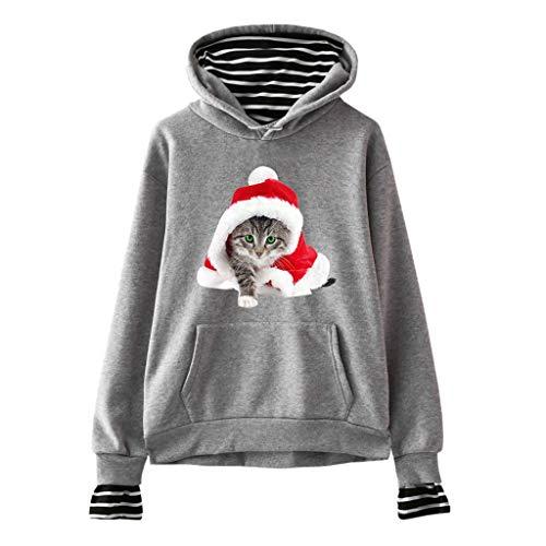 Transwen Sudadera con Capucha para Mujer, con Dos Piezas, con Bolsillos, diseño de Gato de Navidad Impreso Gris L