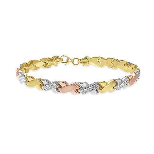 Toscane zilveren sterling zilver 3 kleuren Swarovski kristal kussen armband van 19 cm/7.5 inch