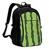 asfg Resistente a Las Manchas Irregular Lines Green Multifunctional Personalized Customized USB Backpack, Student School Outdoor Backpack,Travel Bag Laptop Bookbags Business Daypack.
