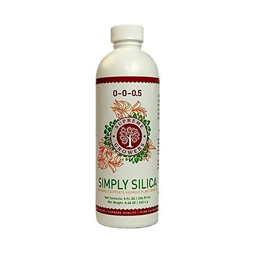 Simply Silica 8oz Concentrate by Supreme Growers Potassium Silicate Liquid Fertilizer Promotes Growth of Strong Plant Tissues Improves Natural Resistance to Environmental Stresses Makes 47 Gallons