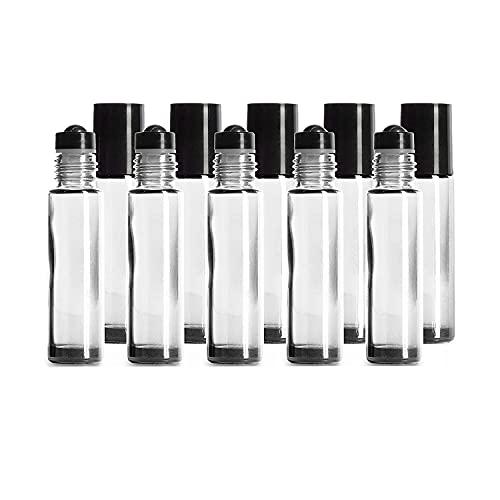 Botellas de Rodillo de Vidrio Transparente de 10 Piezas, 10 ml con Rodillos de protección contra Fugas de Acero Inoxidable y Tapas Negras fragancias, aromaterapia