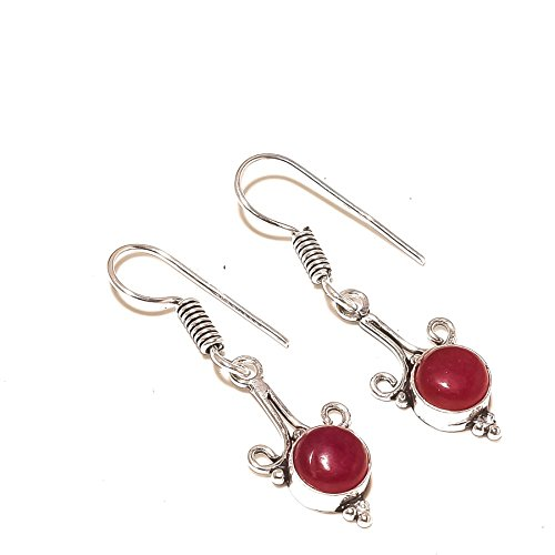 Outstanding! Red Dyed Ruby Simulated Gems! Dangle EARRING 1.5' Long, For Girls! Silver Plated, HANDMADE! Jewelry From Shivi!
