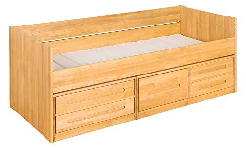 BioKinder Slaapbank Stapelbed Functioneel bed met laden en lattenbodem Lina van massief hout elzenhout 90 x 200 cm