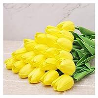 造花 インテリ 10ピースPUブーケ造花チューリップホワイトラテックス本当のタッチベッドルームリビングルームの装飾偽の花の家の結婚式の装飾 フラワーアレンジメント・観葉植物 (Color : Yellow)