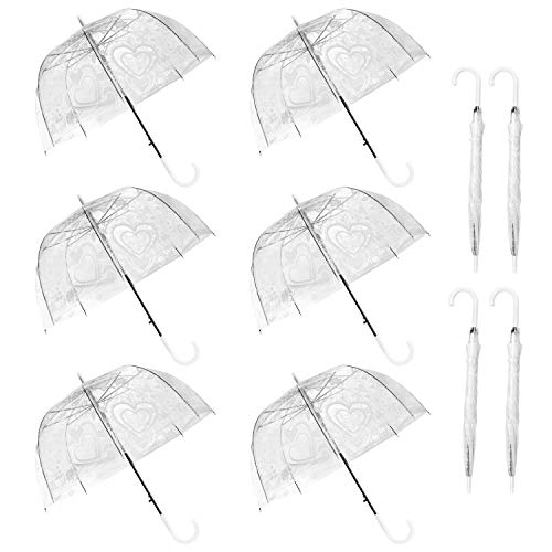WATINC 10 Pack 47 Inch Lace Bubble Umbrellas Clear Flower Heart Pattern Stick Umbrella Dome Shape Large Canopy Transparent Auto Open Windproof with European J Hook Handle Outdoor Wedding Style