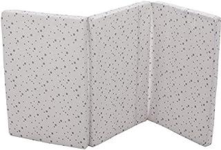 Fillikid Reisebettmatratze 60 x 120 cm   Baby-Matratze mit Tragetasche   atmungsaktiv & klappbar   Bezug 100% Baumwolle abnehmbar & waschbar   Kern aus hochwertigen Softschaum, Design:Sterne grau