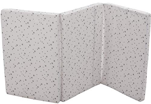 Fillikid Reisebettmatratze 60 x 120 cm | Baby-Matratze mit Tragetasche | atmungsaktiv & klappbar | Bezug 100% Baumwolle abnehmbar & waschbar | Kern aus hochwertigen Softschaum, Design:Sterne grau