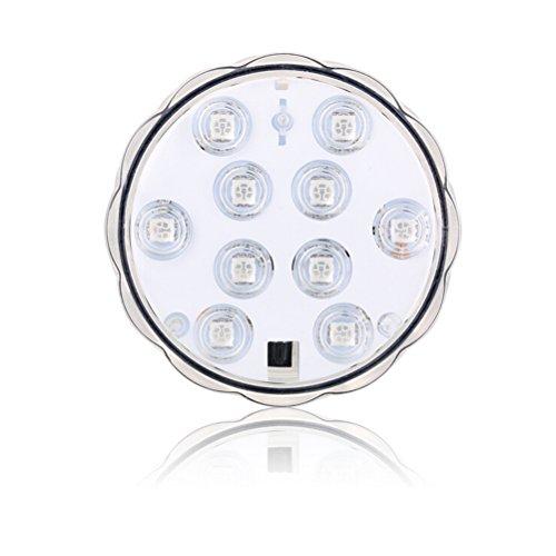LEDMOMO Unterwasser-LED-Licht, 10-LED RGB Wasserdichte batteriebetriebene Lichter mit IR-Fernbedienung für Aquarium, Vase Base, Teich, Schwimmbad, Garten, Party, Jäten, Weihnachten, Halloween