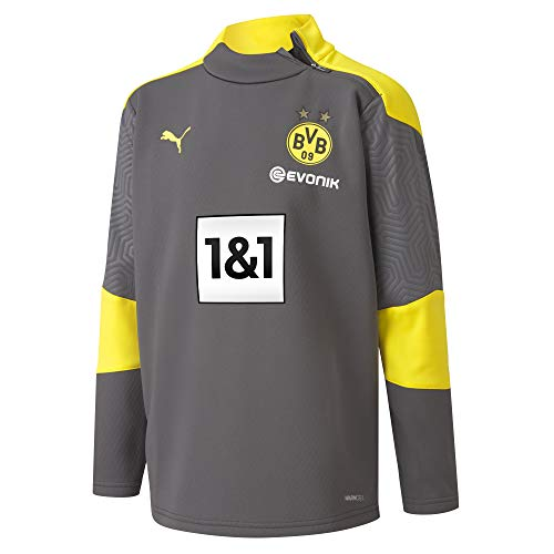 PUMA BVB Training Fleece Jr New Pullover, Asphalt-Cyber Yellow, 152