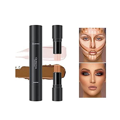 Barra de contorno 2 en 1, barra de resaltado, lápiz corrector de contorno de doble cabezal, lápiz de maquillaje resistente al agua, maquillaje de corrección