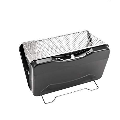 Tragbarer Holzkohlegrill, Kleiner Faltbarer BBQ-Grill für 3-5 Grill-Liebhaber im Freien Picknick-Patio-Hinterhof Reise-Strand-Wilde Küche (Color : Black)