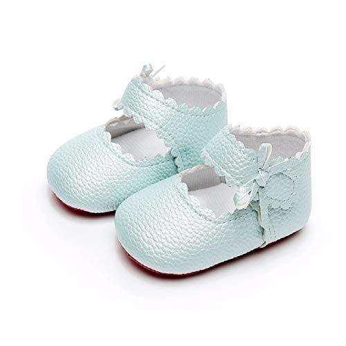 """HONGTEYA Infant Baby Girls Ballet Dress Shoes Mary Jane Princess Soft Sole Frist Walkers Crib Moccasins (0-6 Months/US 3.5/4.33""""/See Size Chart, Blue)"""