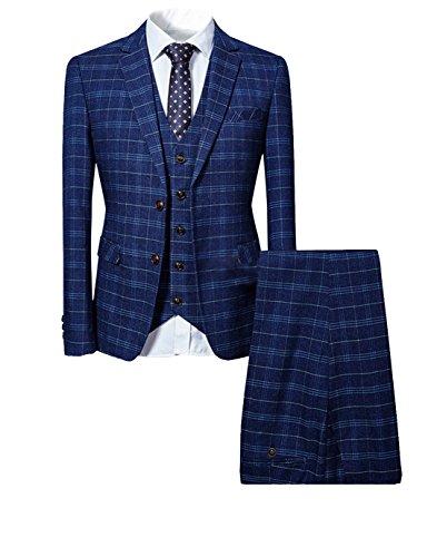 Allthemen Herrenanzug Anzug Herren Anzug Kariert Slim Fit 3 Teilig Anzüge Sakko für Business Hochzeit Dunkelblau Large