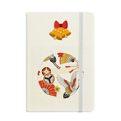 Grúa plegable ventilador Sakura patrón cuaderno diario mas Jingling Bell