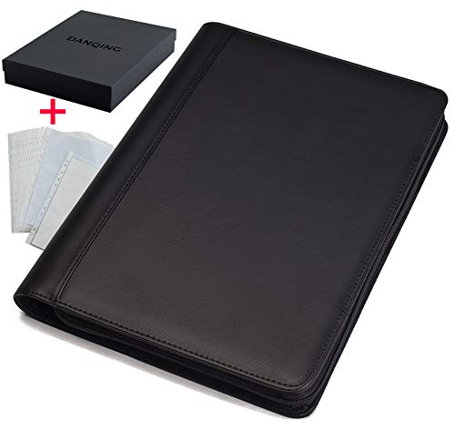 DANQING Zippered 3 Ring Binder Padfolio with 20 pcs Letter Size/A4 Sheet Protectors, Faux Leather, Business Portfolio Folder, for Interview, Meeting & Presentation, Executive Presentation Folder
