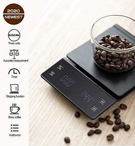 3T6B Elektronische Kaffeewaage, Präzisions-Küchenröstwaage 0,1 g Waage Lebensmittelwägung, Zeitanzeige LED-Anzeige 3000 g Waage(Enthält 2 Batterien)