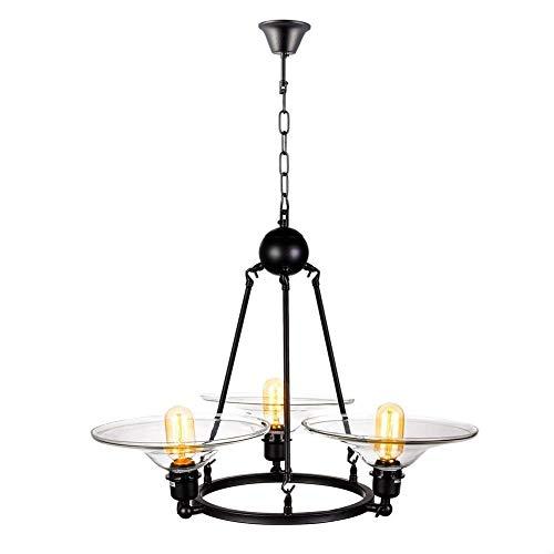 YZYZYZ - Lámpara de techo de cristal retro industrial, lámpara de techo, E27, con lámpara de metal, acabado en hierro negro, comedor, dormitorio, 63 x 80 cm