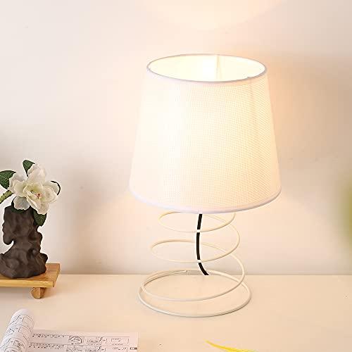 Lámpara de Mesa Minimalista Vintage Blanca, Con Tubos de Hierro en Espiral Industriales, Luz de Mesa de Pantalla de Tela para el Estudio Sala de Estar Dormitorio Junto a la Cama (No Incluye Bombillas)