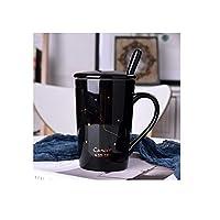 新しいセラミック12コンステレーションセラミックマグカップ、蓋スプーン付きビジネスギフトコーヒーカップ-Cancer