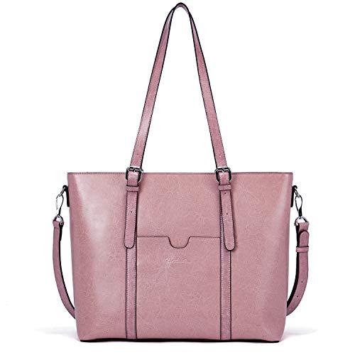 BOSTANTEN Damen Ledertaschen Schultertasche Frauen Designer Handtasche 14 15.6 Zoll Laptoptasche Tote Bag Rosa