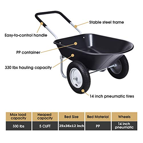Goplus Dual Wheel Wheelbarrow, Heavy Duty Garden Cart, 330 lbs Capacity Utility Cart with Two 13 inches Pneumatic Tires for Outdoor Lawn Yard Farm Ranch (Black)
