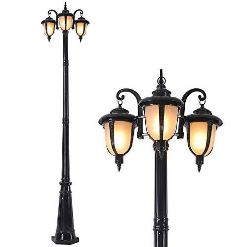 FAISHILAN 7.55Ft Outdoor Post Light, Waterproof Led Street Lamp with Triple-Head, Vintage Post Lamp for Backyard, Patio, Garden, Walkway, Lawn,Driveway or Décor, Black