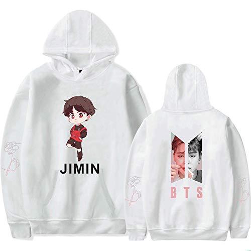 HUANHE BTS Jimin Hoodie Boy Girls Idol Long Sleeve Sweatshirt Hip Hop Fashion Casual Loose Clothing XXS-4XL White