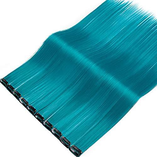 SEGO Extension a Clip Meche Cheveux Couleur Rainbow Arc-en Ciel Synthétique Postiche Pas Cher Rajout Clips Raide Lisse - Bleu 55CM(100g)- [10 Pièces] Meches Froid Clip In Hair