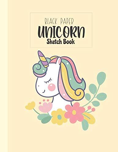 Black Paper Unicorn sketchbook: Blank Drawing Book black Notebook for Kids ,Girl ,Teacher  | Black Paper pad  for gel pens